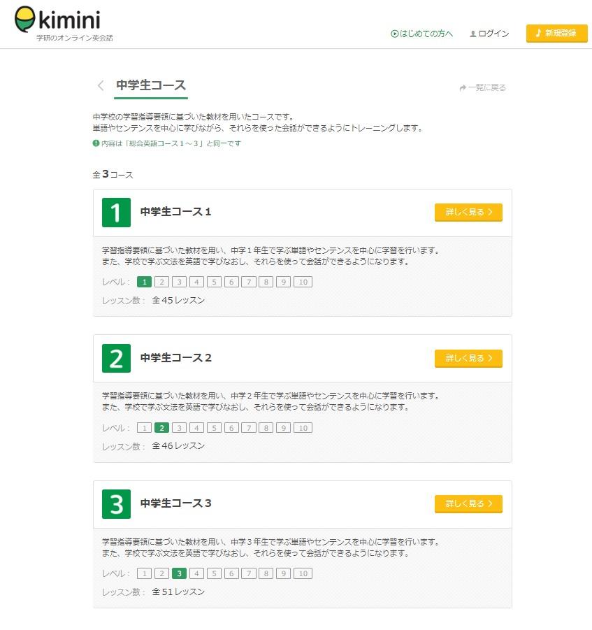 kimini英会話中学生用テキスト